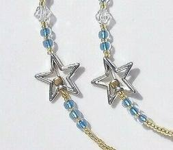 Cute Golden Stars Floating Center Blue Accents Eye Reading S