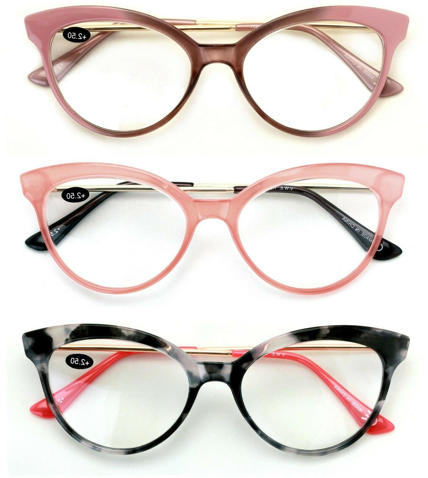3 pairs women cateye pointed tip reading