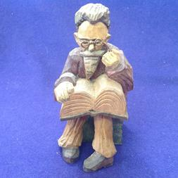 RARE VINTAGE ANRI WOODEN CARVING MAN READING BOOK SPECTACLES